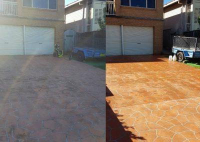 High pressure washing driveway