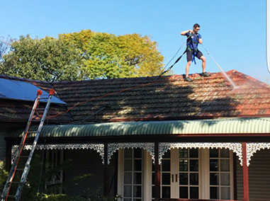 High pressure roof cleaning