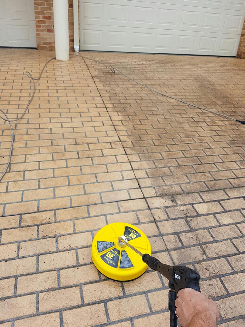 High pressure driveway cleaning